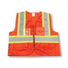 Zipper Front Polyester Orange Safety Vest