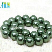14mm Deep Green Shell Pearl Round Gemstone DIY Jewelry Making Beads