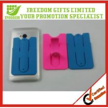 Tenedor promocional barato del teléfono del silicón con la tarjeta