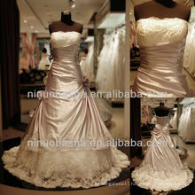 Q-6247 Satin with Tulle Lace A-line Wedding Dress Beaded Ball Gown Bridal Gown