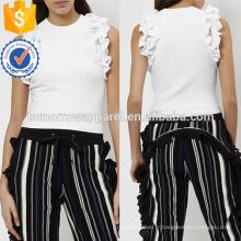 Ivoire Tricoté Ruffle Strims Sport Débardeur Fabrication En Gros Mode Femmes Vêtements (TA4045B)