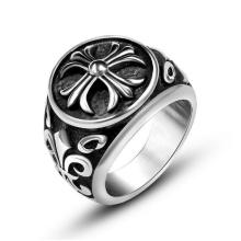 Крест Кольцо Старинные Цветок Матовый Черный Круглый Из Нержавеющей Стали