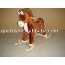jouet à cheval à bascule en peluche en peluche, cavalier animalier