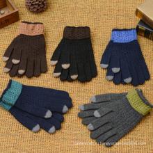 Зимние теплые мужские вязаные перчатки полный палец Оптовая