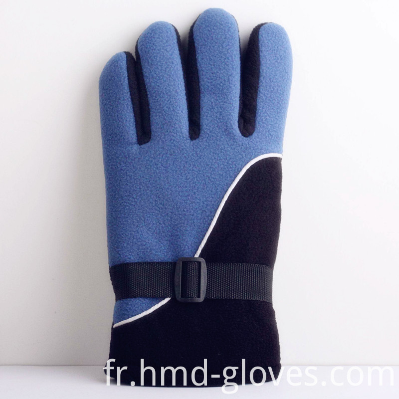 Fleece Gloves Black Blue