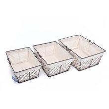 KINDOME Amazon Hot Sales Wire Storage Basket with Fabric Liner