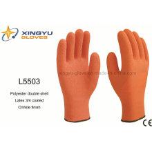 Polyester Doppelmantel Latex 3/4 beschichtete Crinkle Finish Sicherheit Arbeitshandschuh (L5503)