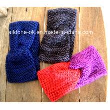 New Design moda senhoras mão tricotada Headband Neckwarmer turbante