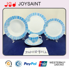 Best Quality New Bone China Geschirr Set mit blauem Abziehbild (JSD118-R012)