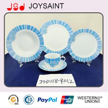 Лучшее качество Новый Костяного фарфора посуда комплект с синий наклейка (JSD118-R012)
