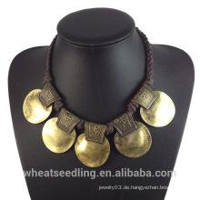 2015 Neuer Entwurf lokales Produkt Weinlese-Goldlegierungs-Choker-Halskette für Frauen-Damen