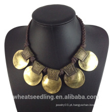 2015 Nova Design Local Produto Vintage Gold Alloy Gargantilha Colar Para Mulheres Senhoras