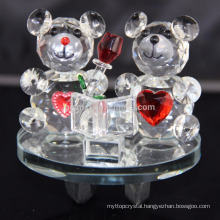 Lovely Animal Figurines Crystal Teddy Bear For Wedding Decoration