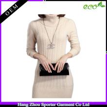 16FZSW05 moda cabo camisola de malha mulheres vestido de caxemira