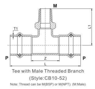 tee with male end p