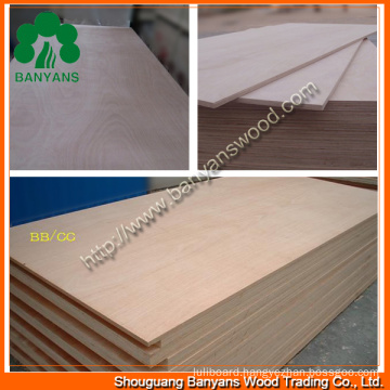 18mm BB/CC Bintangor and Okoume Faced Commercial Plywood