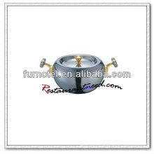 S369 Dia160mm / Dia 180mm de aço inoxidável Composite Bottom Hot Pot com alças douradas