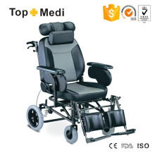 Topmedi Medical Equipment Reclining Steel Wheelchair with Leather Seat