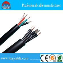 ПВХ Черная куртка 5cores 5 * 2.5мм2 Электрический кабель управления Kvv