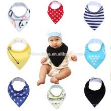 Melhor babar babadores com snaps algodão natural macio impressão bib algodão bebê bandana drool bibs