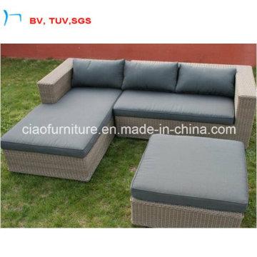 Sofa de rotin de patio dans l'ensemble de sofa de coin de jardin (CF987)