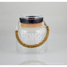 Soporte de vela de vidrio nuevo con mango de cuerda de yute