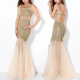 Fashion Mermaid Long Sequin Beaded Shinny See Through 2013 Evening Prom Dress