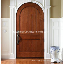 Puerta de entrada de madera de caoba redonda superior