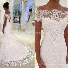 Nueva manera de la alta calidad de los vestidos de boda blancos de encargo MW2548 del cordón de la sirena del vestido nupcial del hombro
