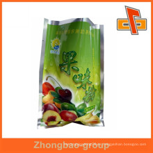 Material laminado tres lado sello de calor personalizado fruta especias bolsa de alimentos paquete al por mayor
