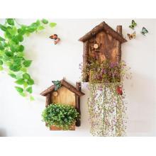 Tenture murale en bois de pot de fleurs de style rustique