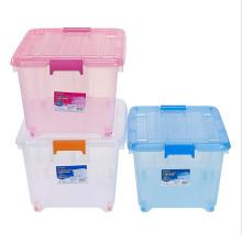 Caixa de armazenamento de plástico de cristal com rodas para armazenamento doméstico