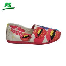 chaussures de toile peintes à la main de vente chaude pour la fille, chaussures de toile élégantes filles