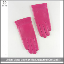 Children's Girls pink color winter leather gloves in china