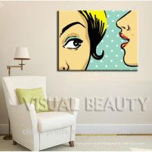 Mulher, contar, segredos, multa, decoração, arte