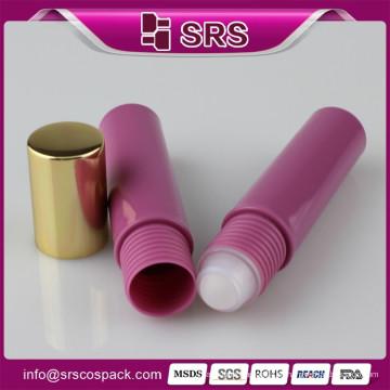 Plástico 10ml rolo em garrafa de cosméticos, fabricantes grossista 10ml plástico red eye creme rolo em garrafa com PP bola