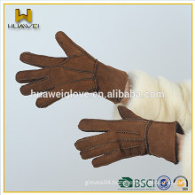 Custom hand sewn sheep shearling suede leather gloves,cheap double face leather gloves for women