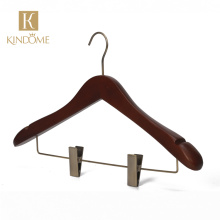 Wooden Clothes Coat Garment Hangers with Trouser Skirt Clips