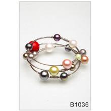 Pérola de vidro colorido pulseira (B1036)