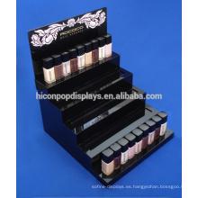 Publicidad de la tienda de cosméticos Logotipo personalizado Counter Top Acrílico 5-Step Nail Polish Display Stand