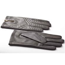 Herrenmode Reißverschluss Leder Motorrad Fahren Handschuhe (YKY5184-2)