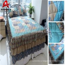100% полиэстер разогнать напечатано лоскутное одеяло лоскутное одеяло и дешевые матче с подушкой