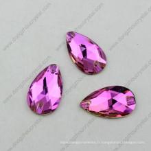 Gros goutte de verre fantaisie rose coudre sur verre strass