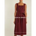 Бордовый Плиссированные без рукавов платье хлопка OEM и ODM Производство Оптовая продажа женской одежды (TA7110D)