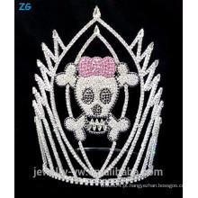 Coroa de cristal crânio colorido do Dia das Bruxas, coroa de crânio assustador para venda