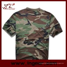 Moda tático militar camuflagem manga curta camiseta algodão camiseta