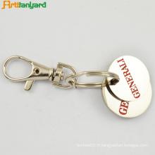 Porte-clés rond métallique de pièce de monnaie
