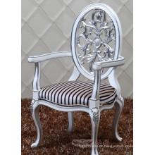 Novo design oval traseiro barroco cadeira de jantar de madeira maciça com braço, cadeira estofada