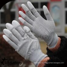 SRSAFETY 13g нейлон и углеродный палец окунают PU антистатические электронные рабочие перчатки