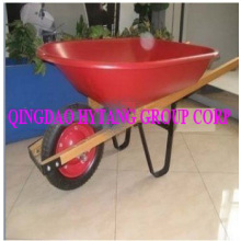 wooden handle 58L plastic tray wheelbarrow with 3.25-8 tyre